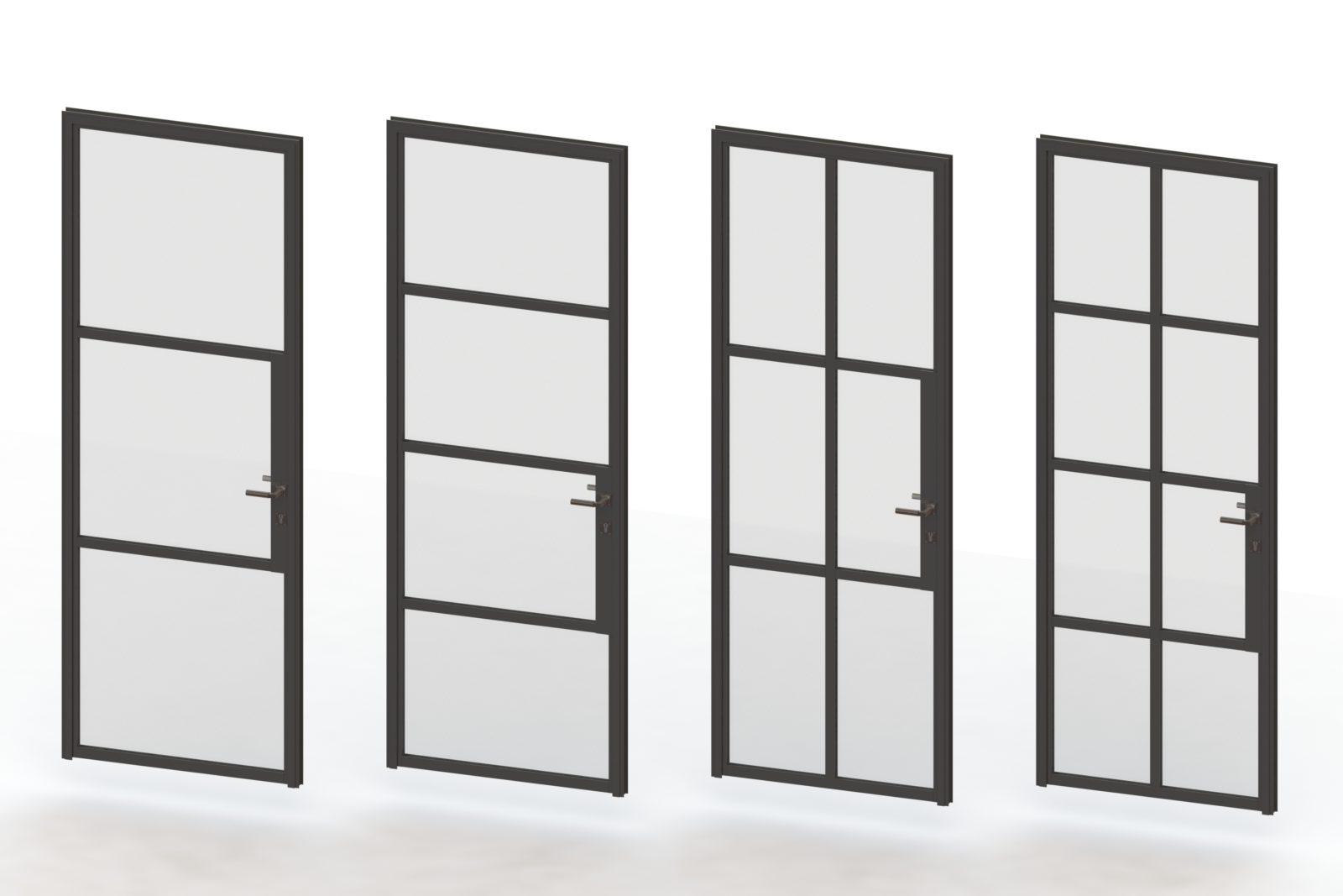 drzwi metalowo szklane